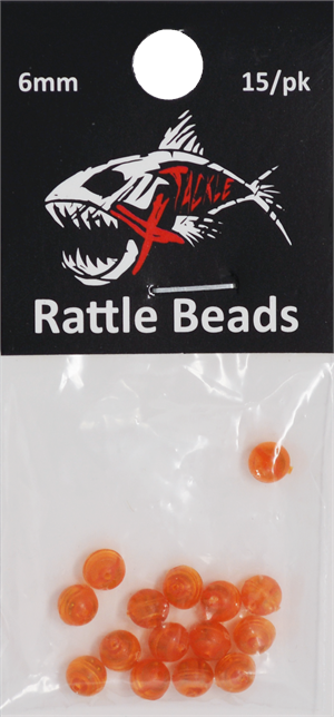 XTackle Lava Orange 6mm Rattle Bead