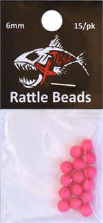 Hot Pink Rattle Beads 6mm